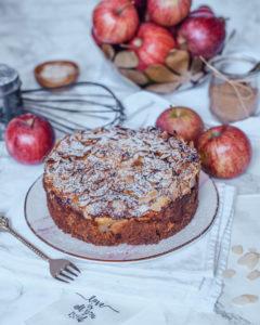 Apfelkuchen mit Pudding ohne Zucker-4