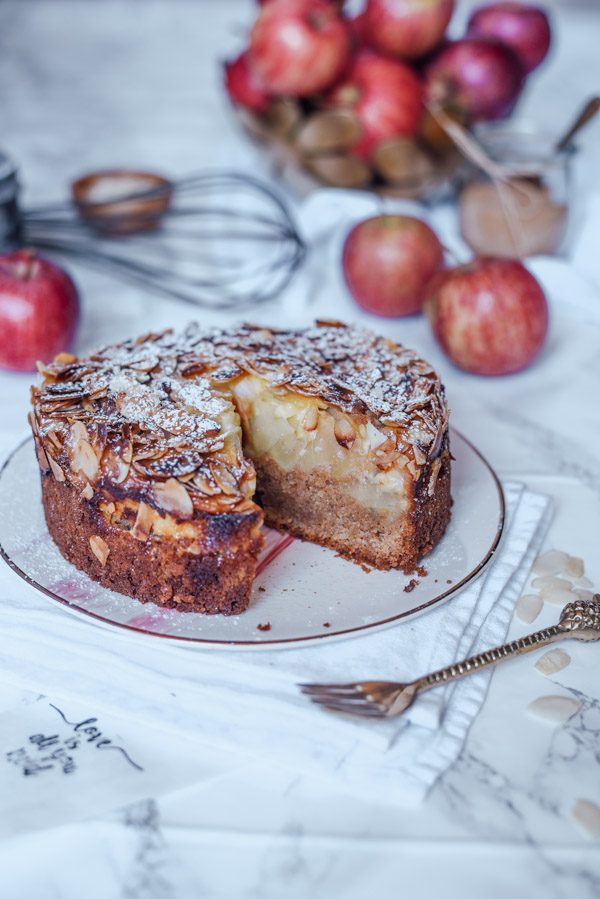 Apfelkuchen mit Pudding ohne Zucker
