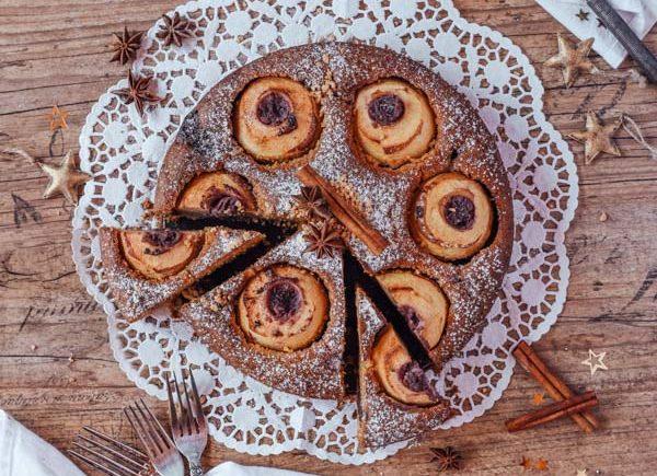 Bratapfelkuchen mit Marzipan-3
