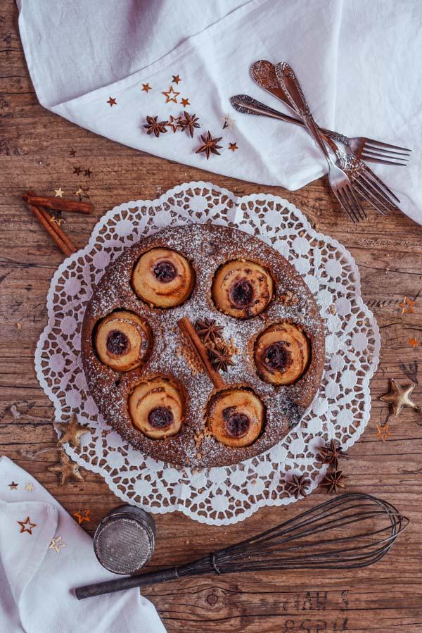 Bratapfelkuchen mit Marzipan