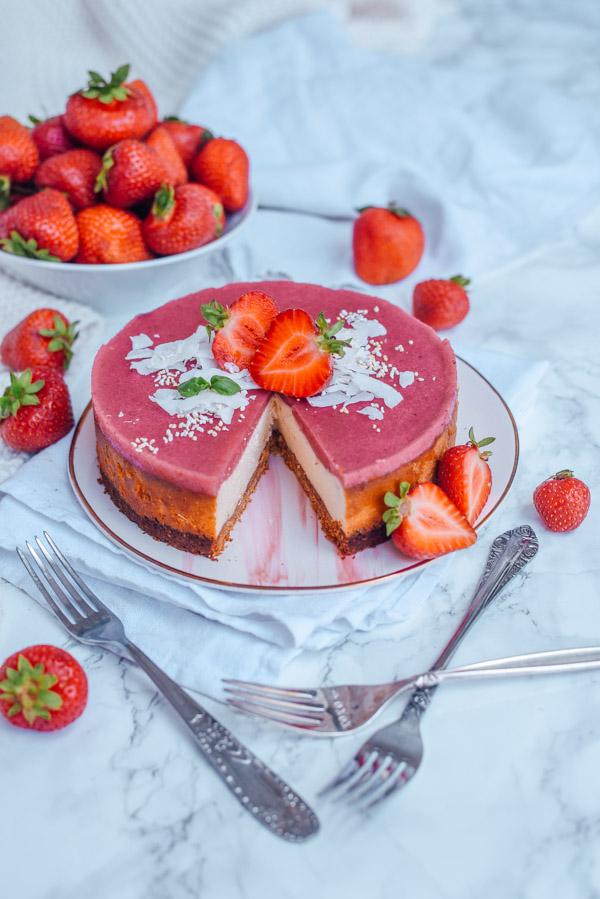 Low Carb Cheesecake mit Erdbeerspiegel-13