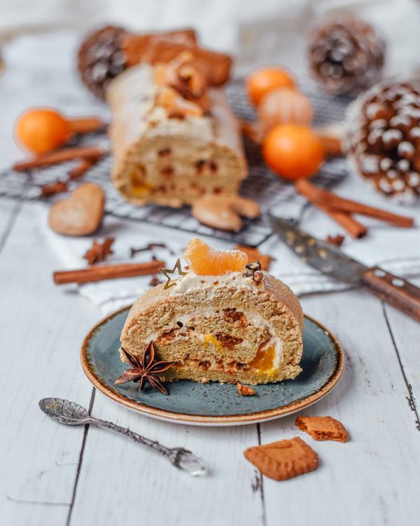 weihnachtliche Lebkuchen Biskuitrolle